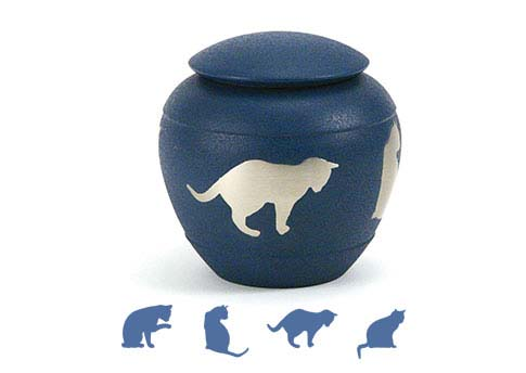 Silhouette Urn - Country Blue Cat Image